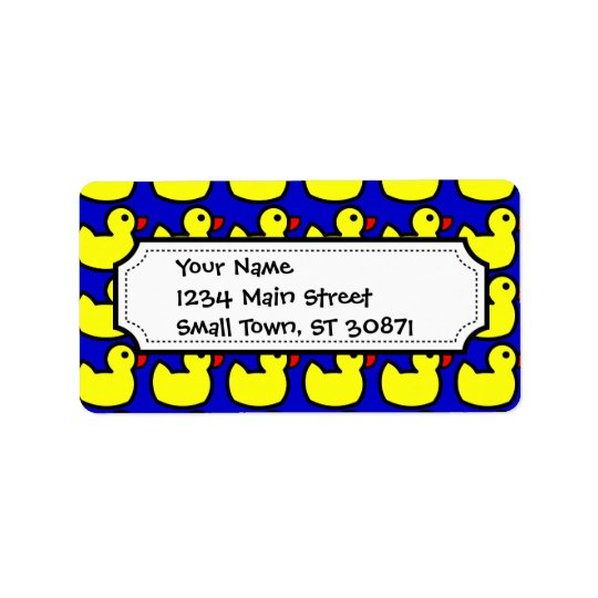 Cute Bright Yellow Rubber Ducky Pattern on Blue Address Label
