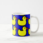 Cute Bright Yellow Rubber Ducky Pattern on Blue Basic White Mug