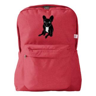 Cute brindle Frenchie in black & white digital art Backpack