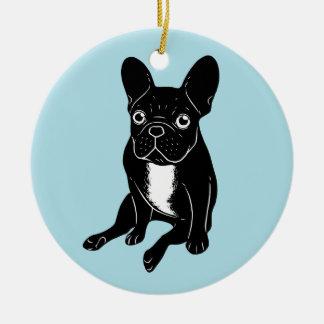 Cute brindle Frenchie in black & white digital art Ceramic Ornament