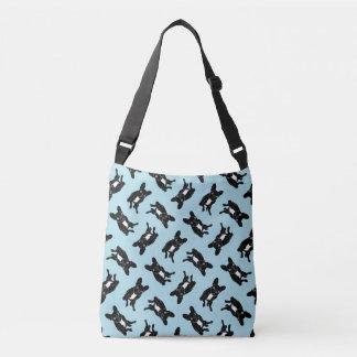 Cute brindle Frenchie in black & white digital art Crossbody Bag