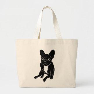 Cute brindle Frenchie in black & white digital art Large Tote Bag