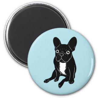 Cute brindle Frenchie in black & white digital art Magnet