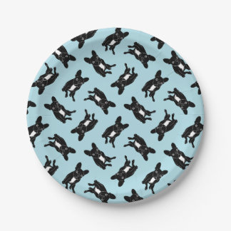 Cute brindle Frenchie in black & white digital art Paper Plate