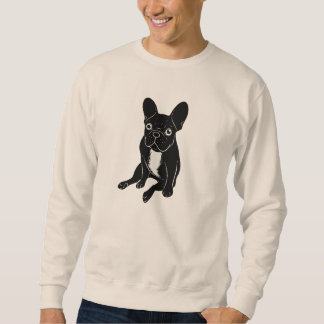 Cute brindle Frenchie in black & white digital art Sweatshirt