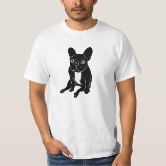 Cute brindle Frenchie in black & white digital art T-Shirt