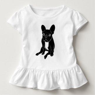 Cute brindle Frenchie in black & white digital art Toddler T-Shirt