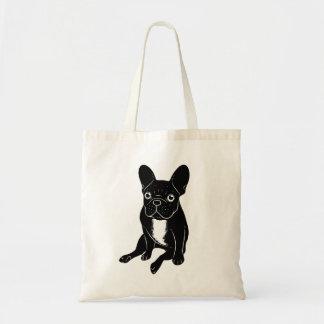 Cute brindle Frenchie in black & white digital art Tote Bag