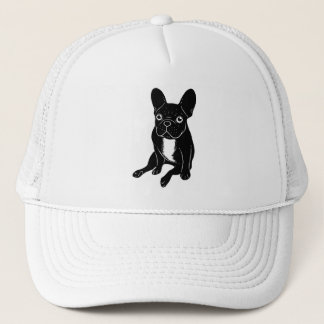 Cute brindle Frenchie in black & white digital art Trucker Hat
