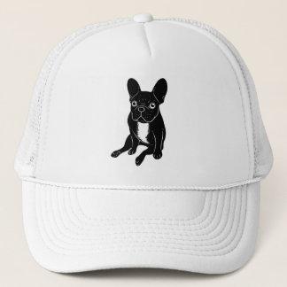 Cute brindle Frenchie in black & white digital art Trucker Hat