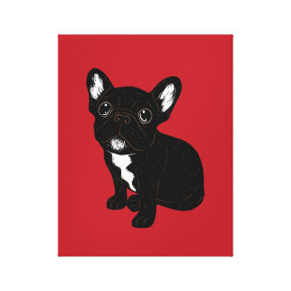 Cute Brindle Frenchie Puppy Canvas Print