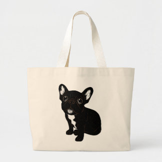 Cute Brindle Frenchie Puppy Large Tote Bag