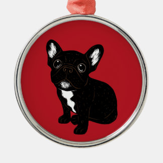 Cute Brindle Frenchie Puppy Metal Ornament