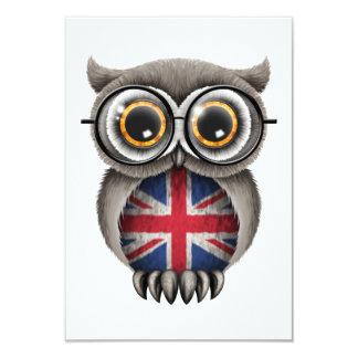 Cute British Flag Owl Wearing Glasses 9 Cm X 13 Cm Invitation Card