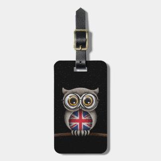 Cute British Flag Owl Wearing Glasses Luggage Tag