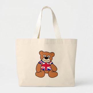 Cute British Flag Teddy Bear Jumbo Tote Bag