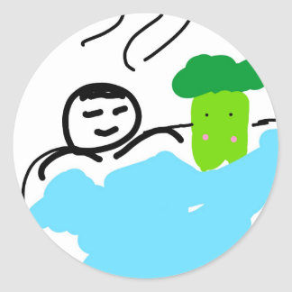 Cute Broccoli in Hot Springs Classic Round Sticker