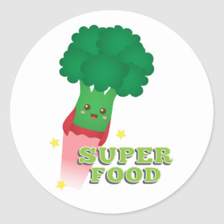 Cute Broccoli Vegetable, Super food Classic Round Sticker