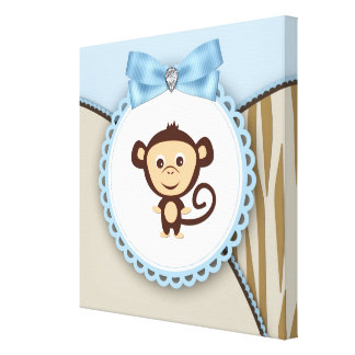 Cute Brown and Blue Monkey Canvas Prints