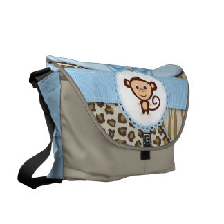 Cute Brown and Blue Safari Monkey Diaper Bag Commuter Bags