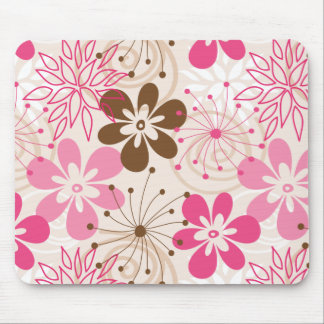 Cute brown and pink abstract spring flowers mouse pad