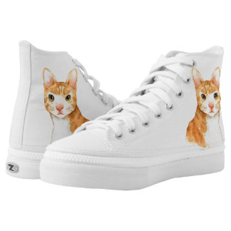 Cute Brown and White Cat High Top Shoes