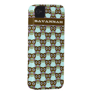 Cute Brown Aqua Purple Owl Pattern Choose Color iPhone 4 Case-Mate Cases