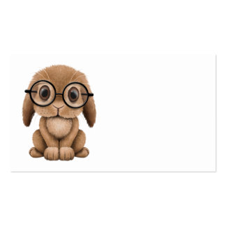 Cute Brown Baby Bunny Wearing Glasses Business Cards