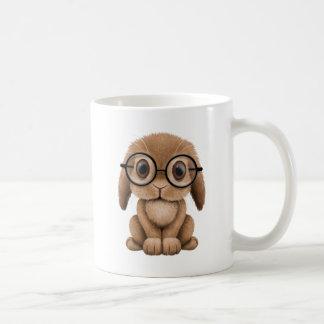 Cute Brown Baby Bunny Wearing Glasses Mugs