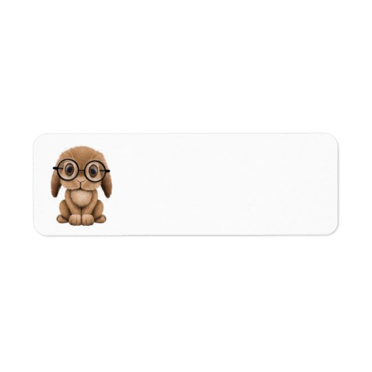Cute Brown Baby Bunny Wearing Glasses Return Address Label