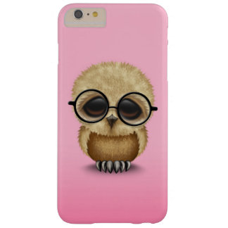 Cute Brown Baby Owl Wearing Glasses on Pink Barely There iPhone 6 Plus Case