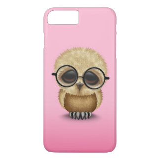 Cute Brown Baby Owl Wearing Glasses on Pink iPhone 7 Plus Case