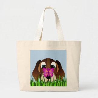 Cute Brown Beagle Puppy Dog and Butterfly Large Tote Bag
