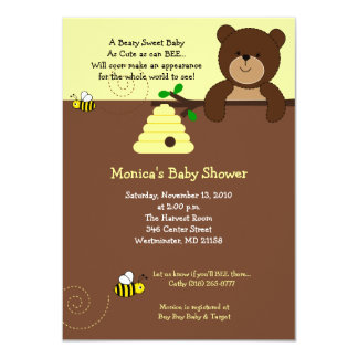 Cute Brown Bear and Honey Bee Baby Shower 4x6 11 Cm X 16 Cm Invitation Card