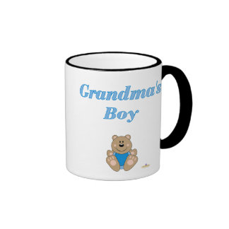 Cute Brown Bear Blue Bib Grandma's Boy Mug