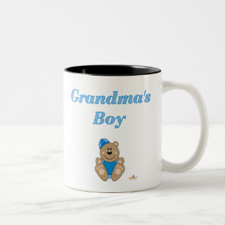 Cute Brown Bear Blue Snow Hat Grandma's Boy Coffee Mugs