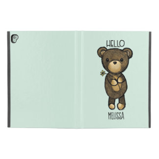 "Cute Brown Bear Holding a Yellow Flower Custom iPad Pro 9.7"" Case"