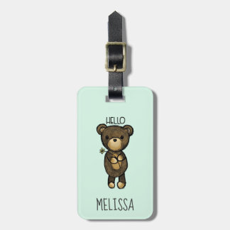 Cute Brown Bear Holding a Yellow Flower Luggage Tag
