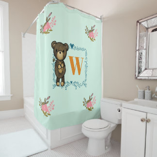 Cute Brown Bear Holding a Yellow Flower Monogram Shower Curtain