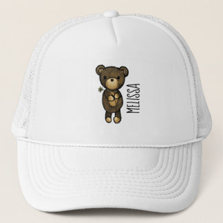 Cute Brown Bear Holding a Yellow Flower Trucker Hat