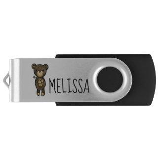 Cute Brown Bear Holding a Yellow Flower USB Flash Drive