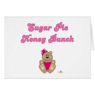 Cute Brown Bear Pink Silly Hat Sugar Pie Honey Bun Card