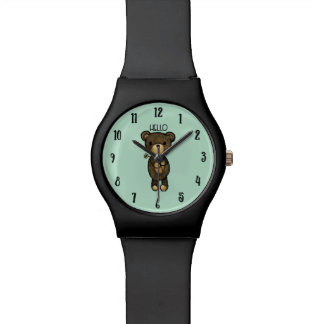 Cute Brown Bear with Yellow Flower Watch