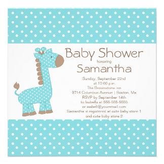 Cute Brown Blue Giraffe Boys Baby Shower Custom Invite