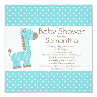 Cute Brown Blue Giraffe Boys Baby Shower 13 Cm X 13 Cm Square Invitation Card