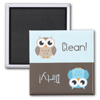 Cute brown blue owl clean dirty dishwasher magnet