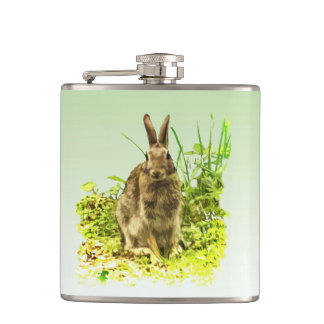 Cute Brown Bunny Rabbit in Grass Flask