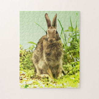 Cute Brown Bunny Rabbit in Green Grass Puzzle