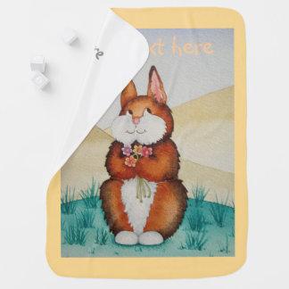 cute brown Bunny rabbit smiling flowers design Baby Blanket