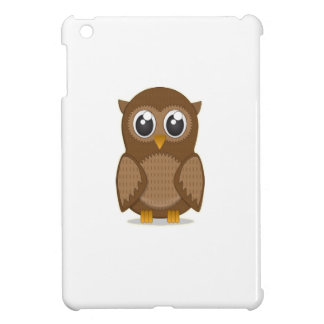 Cute Brown Cartoon Owl with Big Gleaming Eyes iPad Mini Cases
